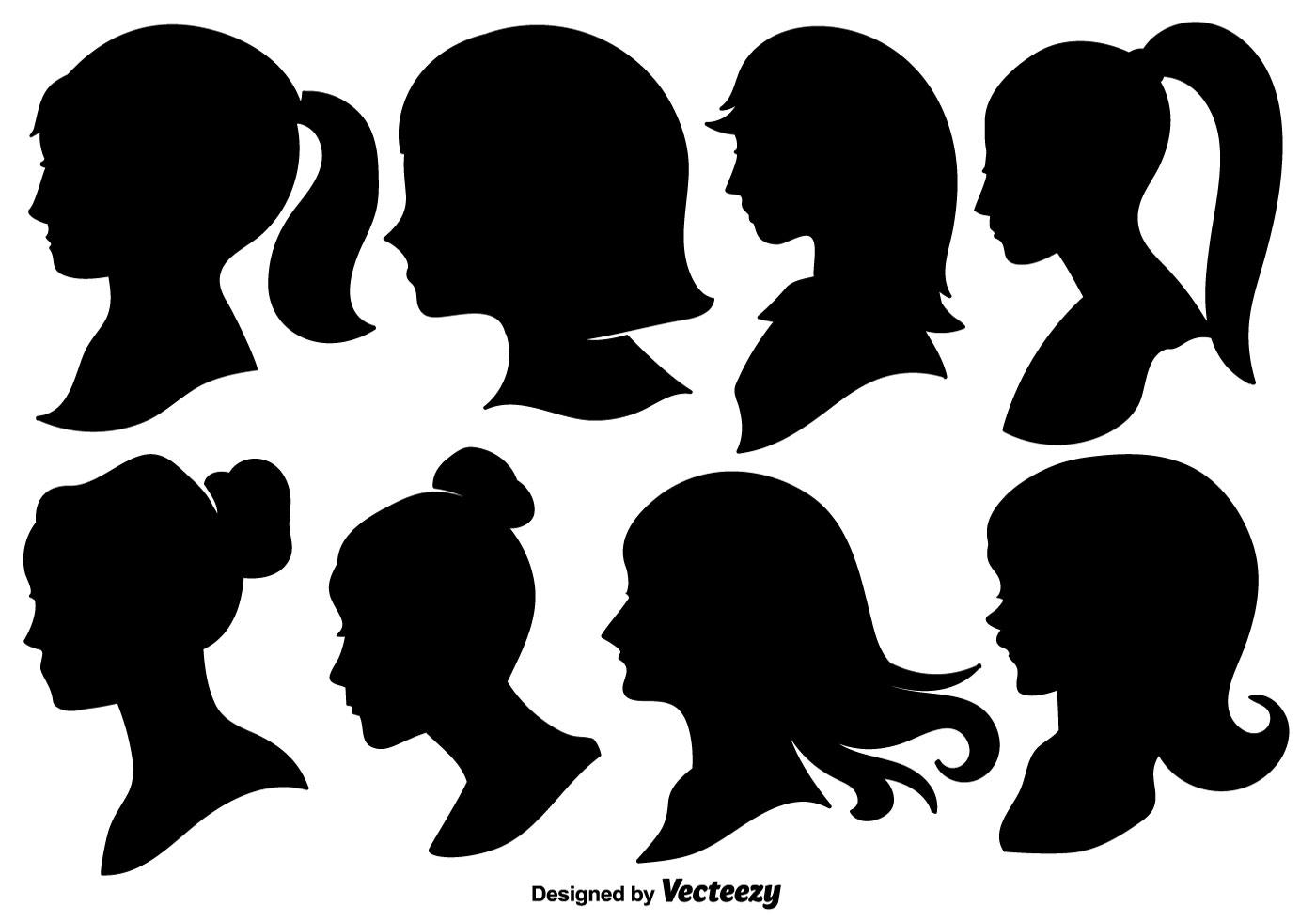 Woman Profile Silhouette Free Vector Art.