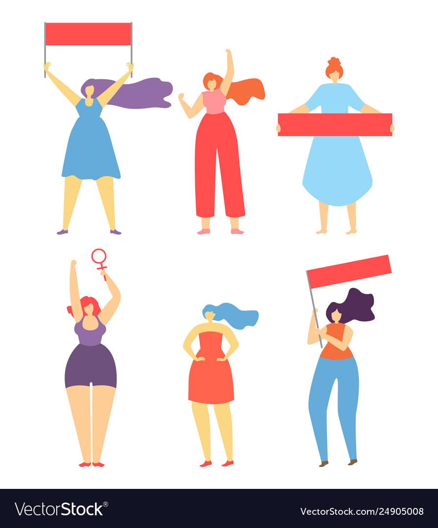 Feminism woman protest strike flat cartoon banner.