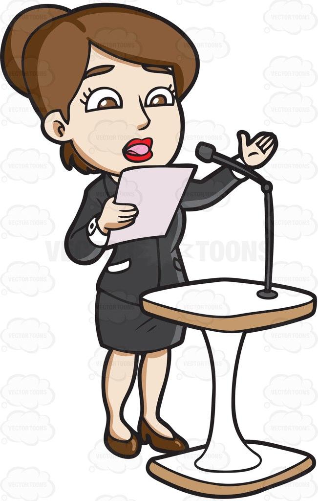 A Woman Saying Her Speech Behind A Podium Cartoon Clipart.