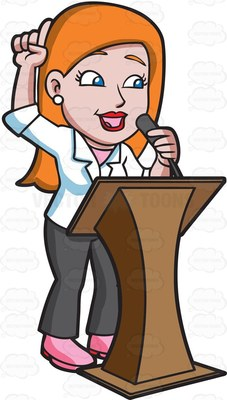 Woman Public Speaking Clipart.