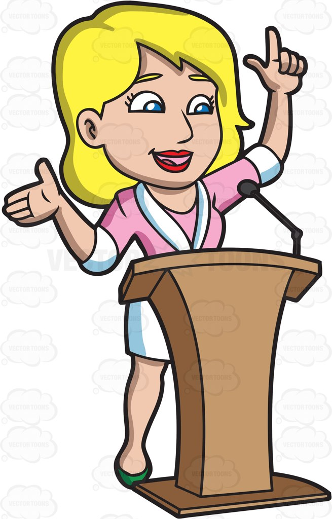 Woman Public Speaker Clipart.