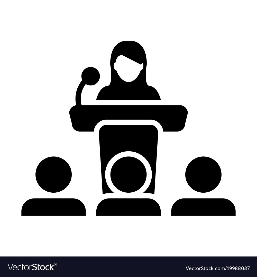 Public speaking icon female person on podium.