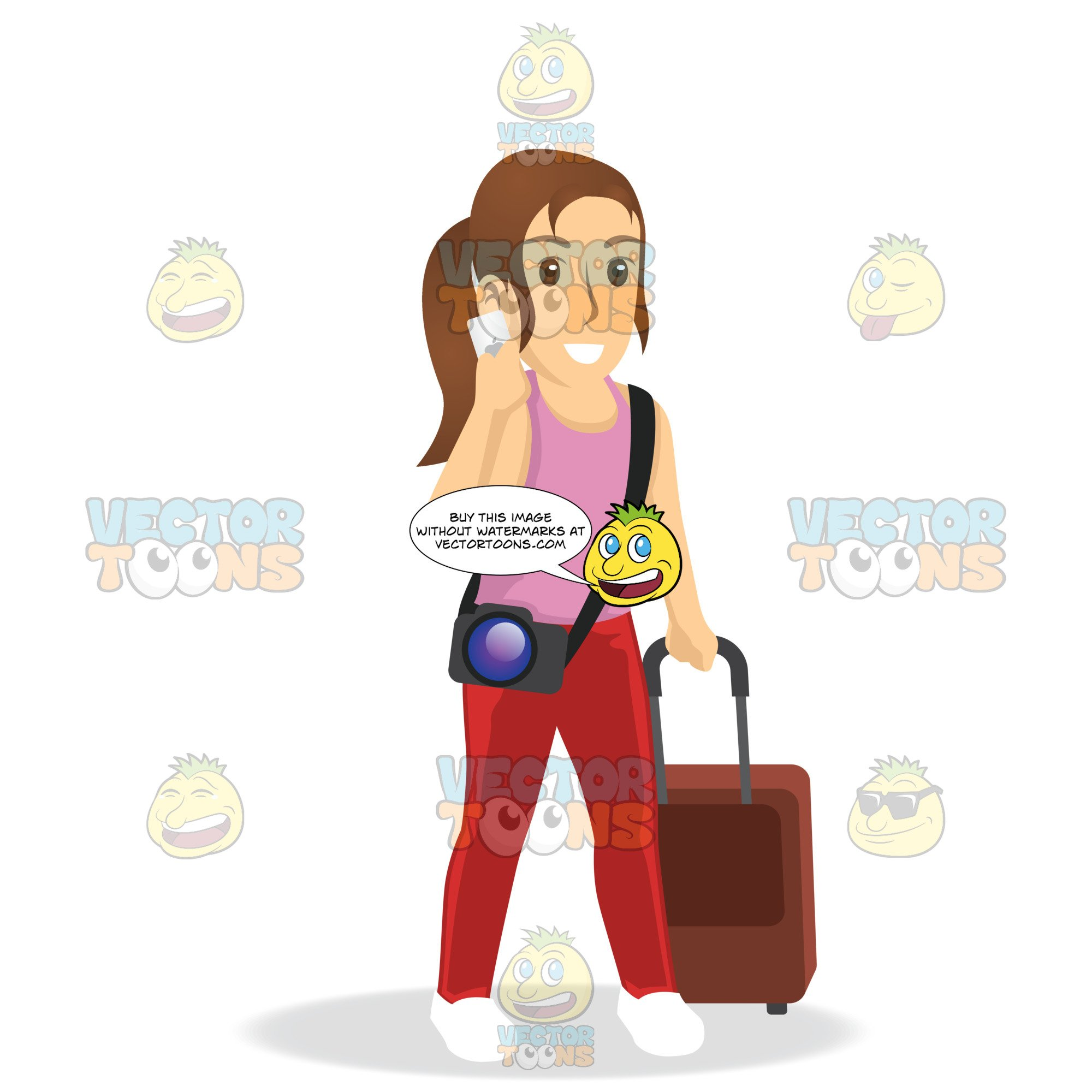 Woman On Iphone While Pulling Luggage.