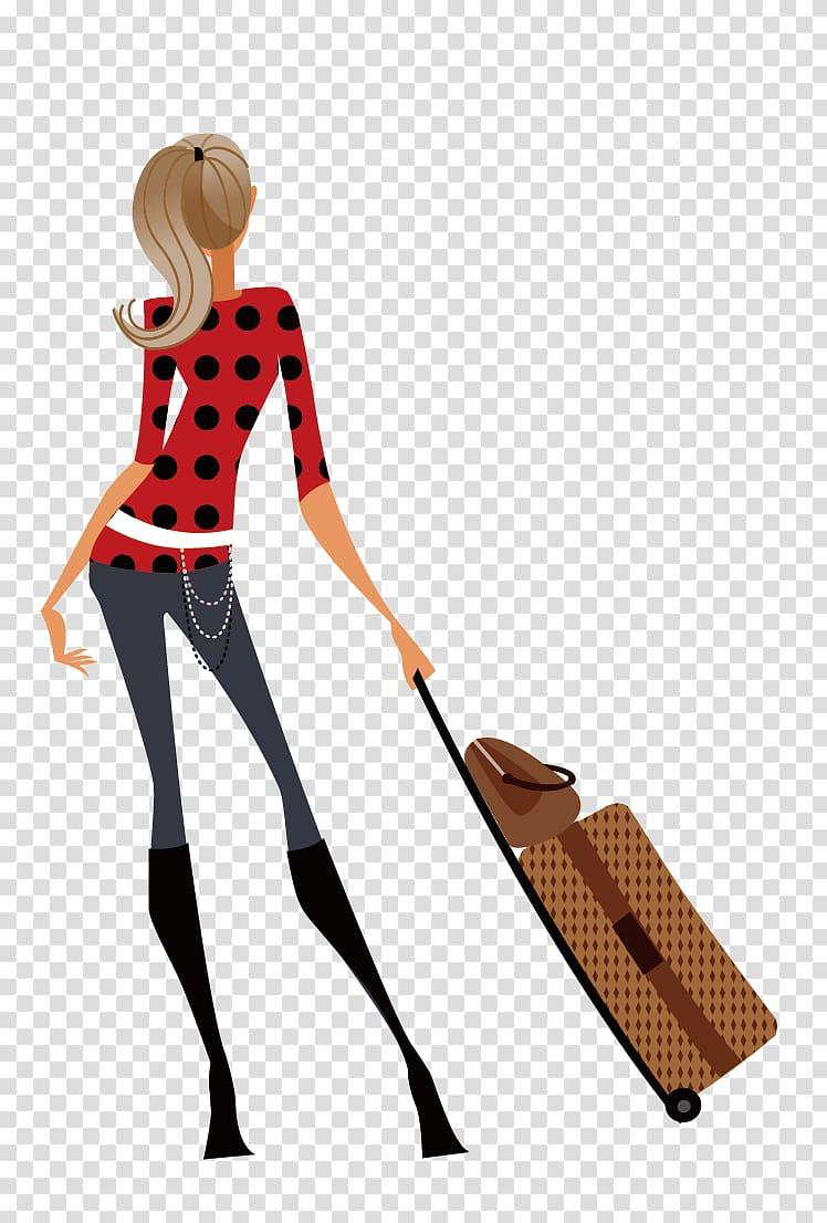 Woman pulling luggage bag illustration, Travel Illustration.