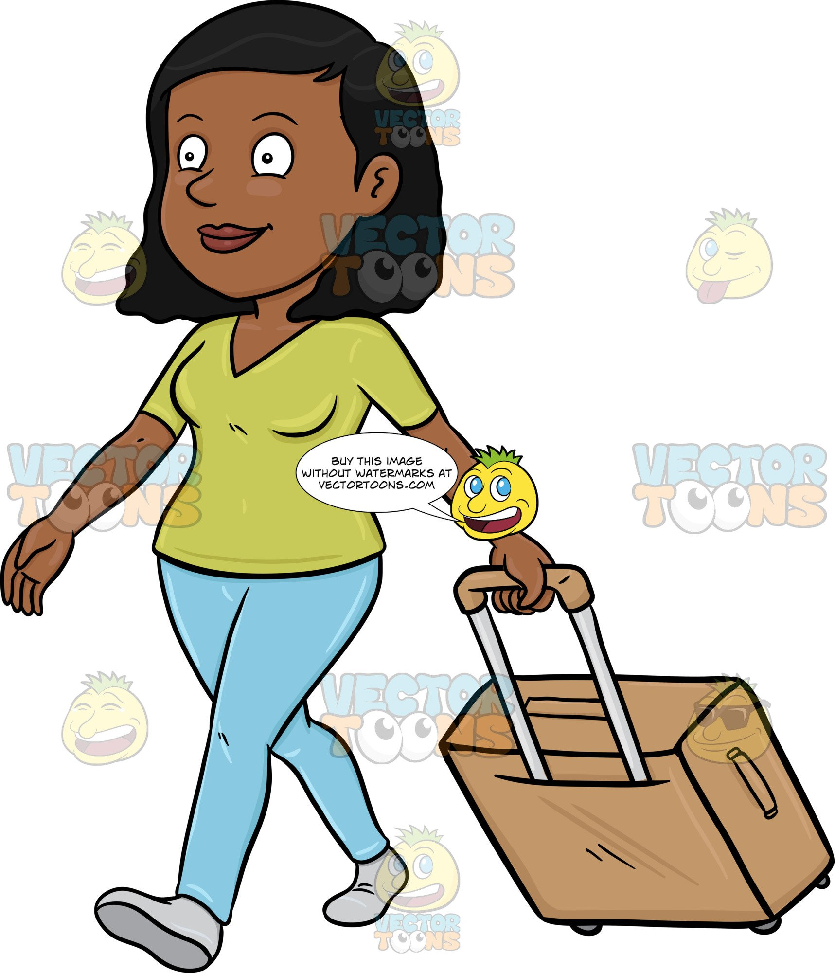 A Black Female Tourist Walks While Pulling Her Luggage.