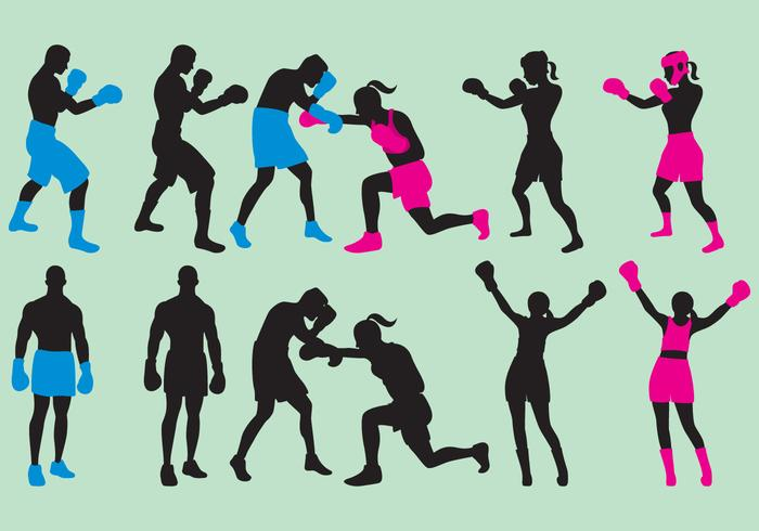 Woman And Man Boxing Silhouettes.