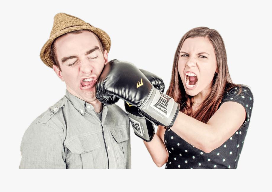 Couple Fighting Woman Punching Man.