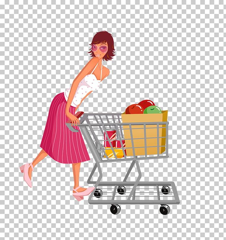 Shopping cart Designer , Woman pushing a shopping cart PNG.