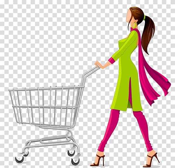 Woman pushing shopping cart illustration, Shopping cart.