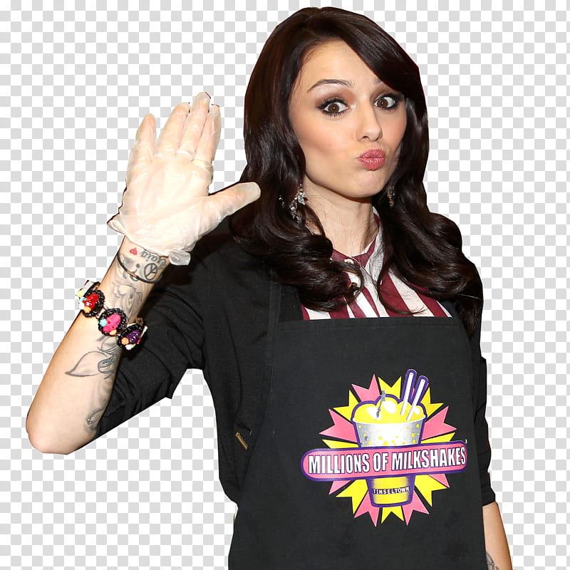 Cher Lloyd HQ, standing woman in black shirt raising her.