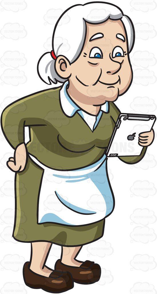 An old woman reading from an ipad #cartoon #clipart #vector.