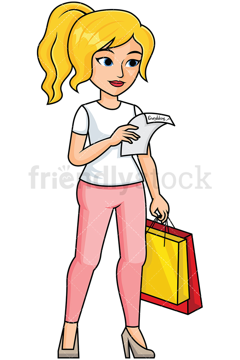 Woman Reading Shopping List.