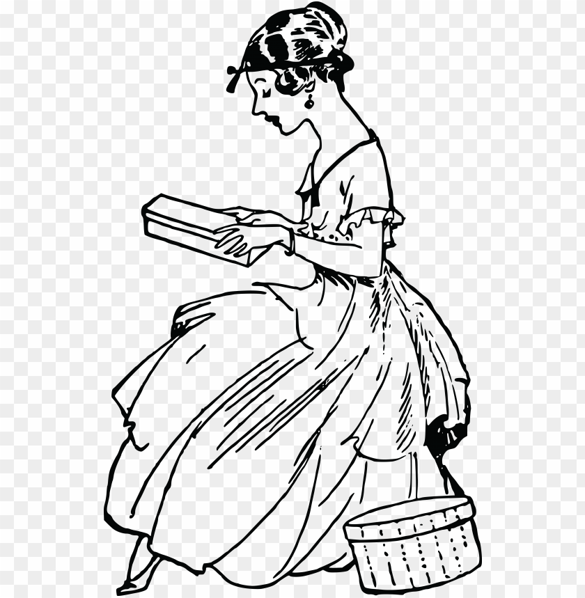free clipart of a vintage woman reading.