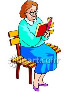 Lady Reading Clipart.