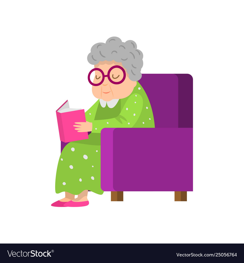 Old senior woman in green dress reading a book.