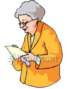 Old Woman Reading a Letter.