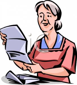 Elderly Lady Reading an Opened Letter.