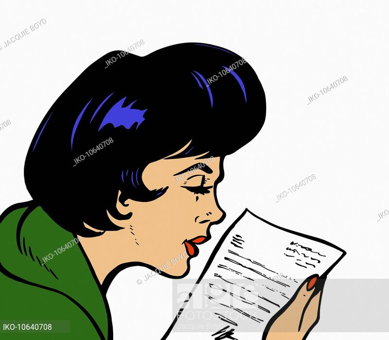 Close up of woman reading letter, Stock Photo, Picture And.