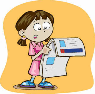 Girl Reading Newspaper Clipart.