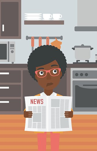 Woman reading newspaper. Clipart Image.