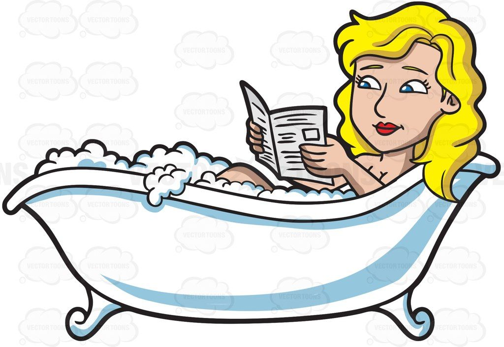 A woman reading newspaper in a tub #cartoon #clipart #vector.