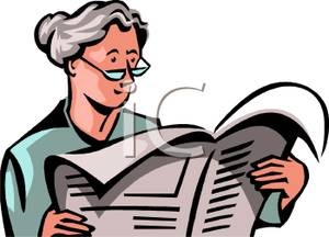 An Elderly Woman Reading the Newspaper Clipart Image.