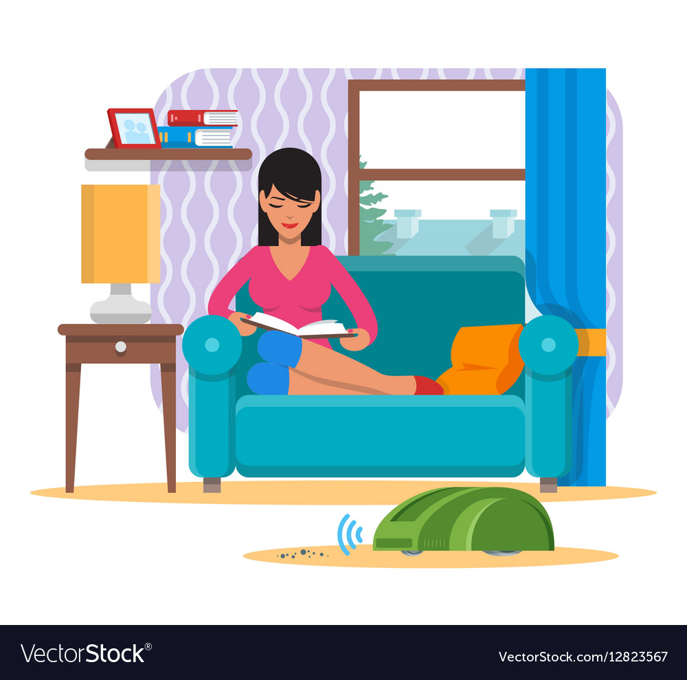 Woman reading book on sofa while vacuum cleaner.