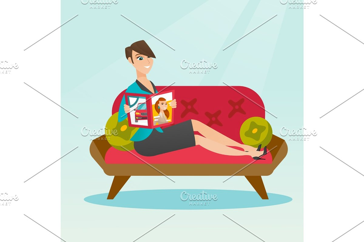 Woman reading magazine on sofa vector illustration.