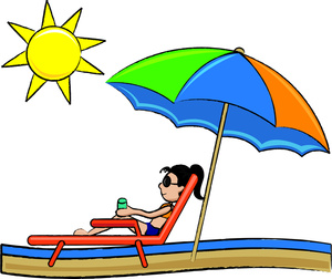 Relaxing On The Beach Clipart.