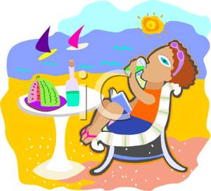 Woman Relaxing On Beach Clipart.
