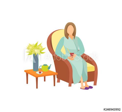 Woman sitting on armchair in resting room cartoon vector.