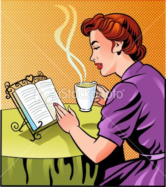 Old fashioned retro style woman relaxing over a good book.