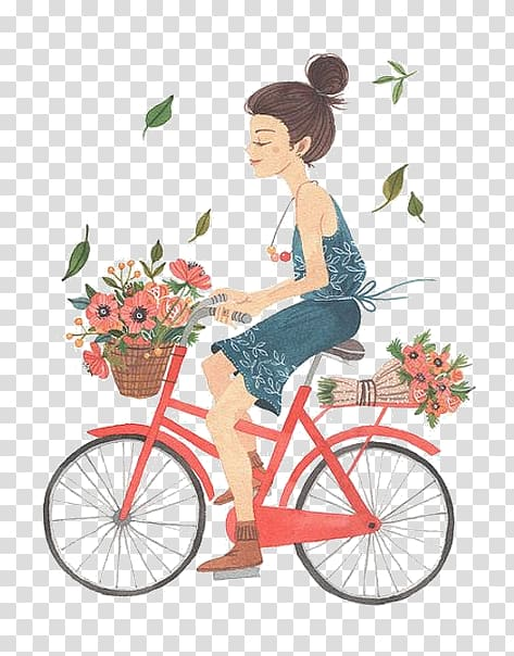 Woman riding bicycle, Watercolor painting Drawing.