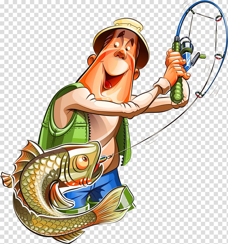 Fisherman with hooked fish on line illustration, Fishing.