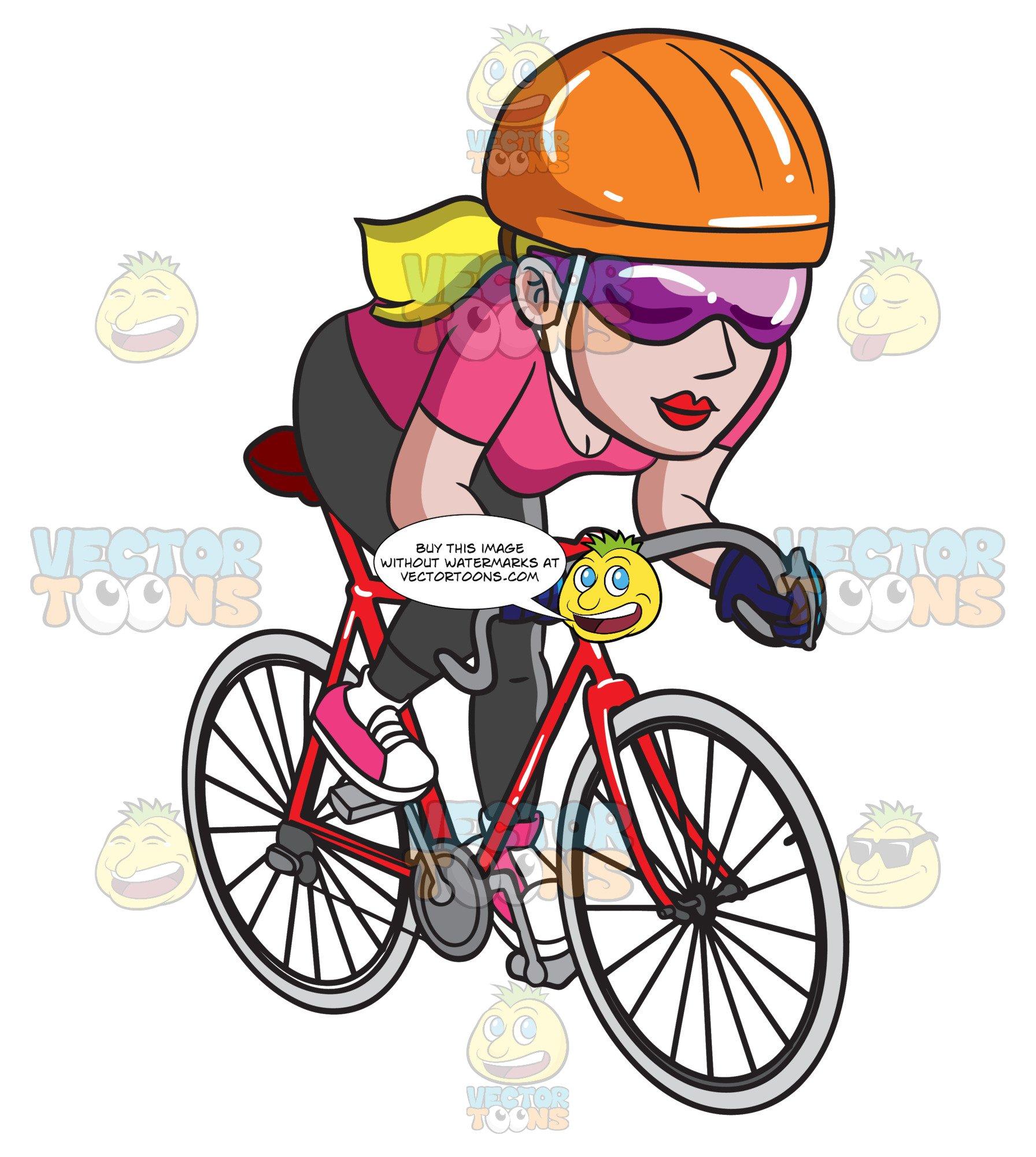A Woman Riding A Road Bike.