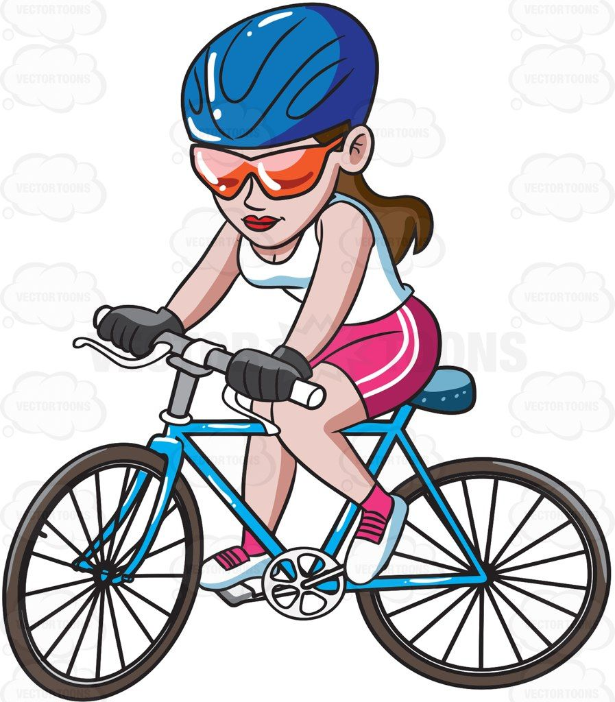 A woman riding a mountain bike #cartoon #clipart #vector.
