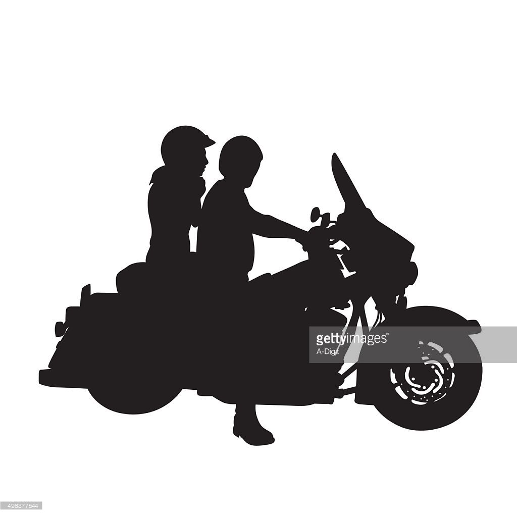 A vector silhouette illustration of a man and woman riding a.
