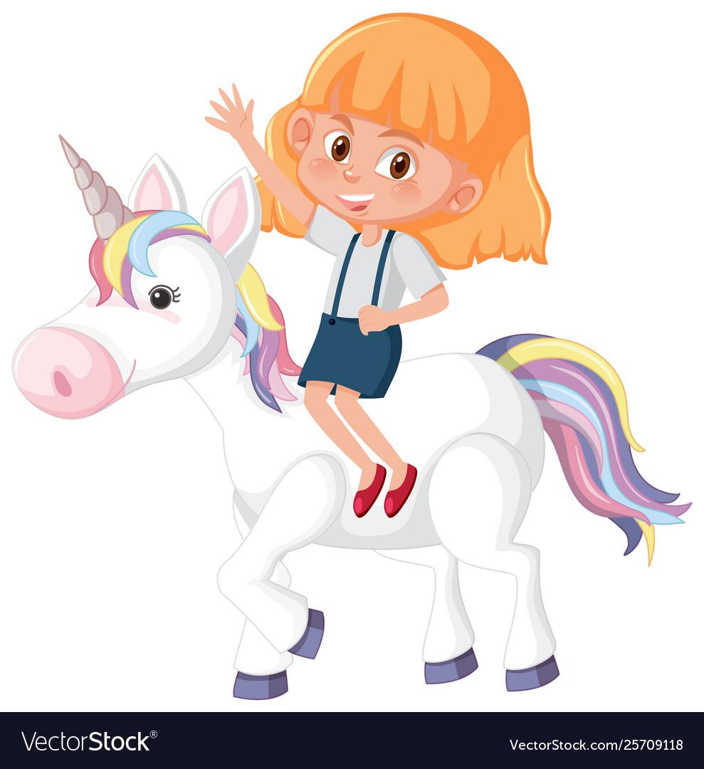 A girl riding unicorn.