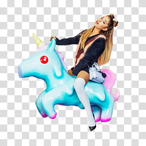 Ariana Grande, woman riding unicorn toy transparent.