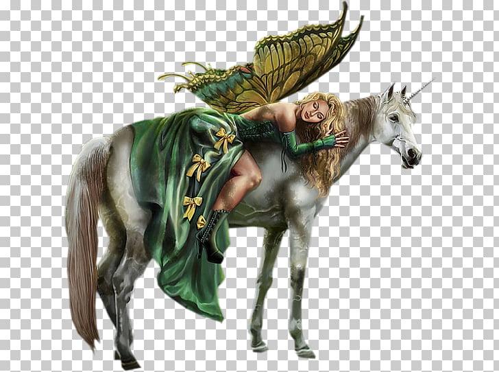 Fairy tale Elf Fantasy Unicorn, Fairy, woman riding on.