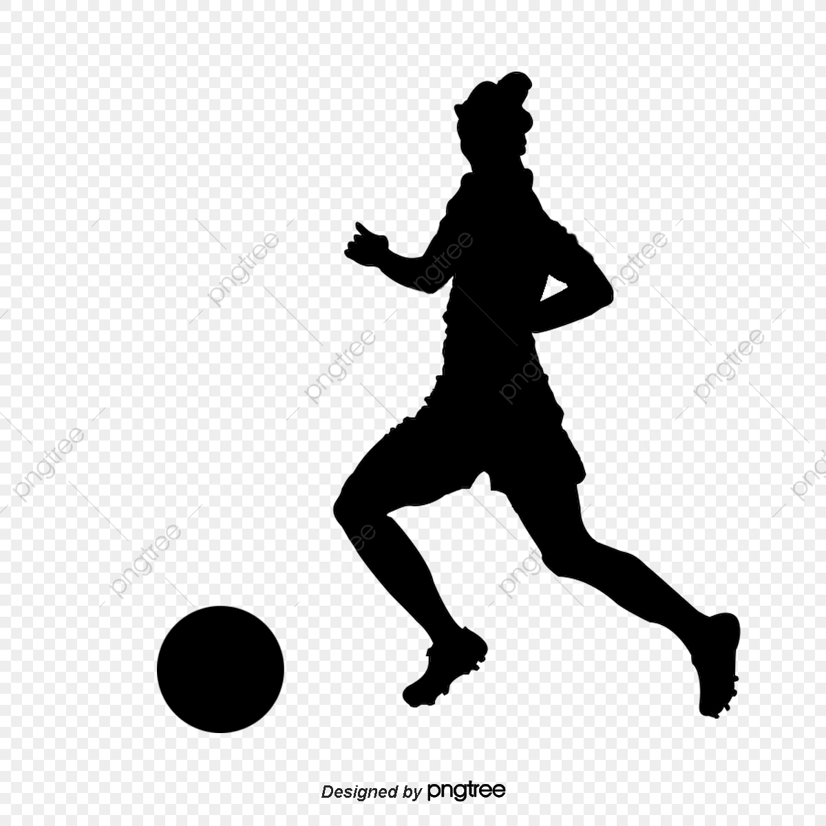 Silhouette Of Women Football Players Running And Kicking, Silhouette.