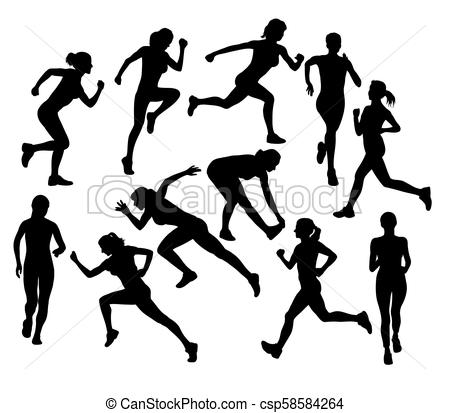Woman Running Silhouettes.