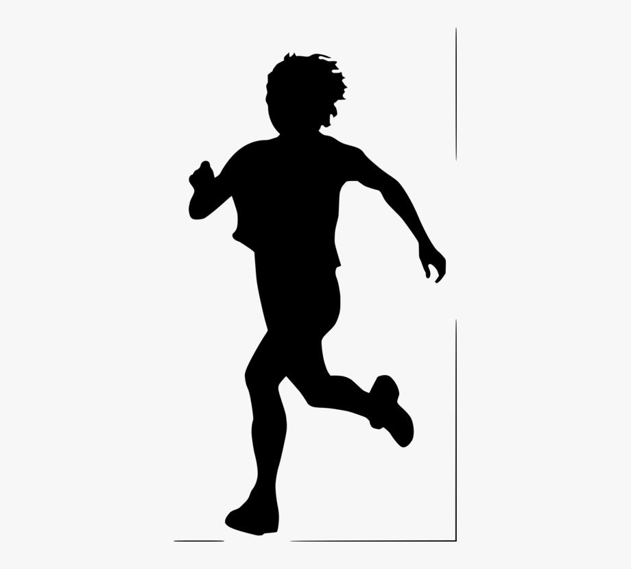 Silhouette Running Child Female Drawing.