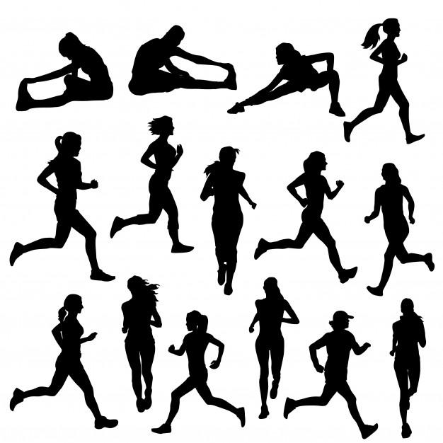 Runner woman street sport silhouette clip art Vector.