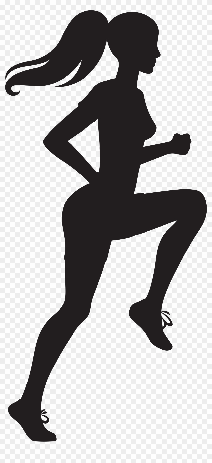 Running Woman Silhouette Transparent Image.