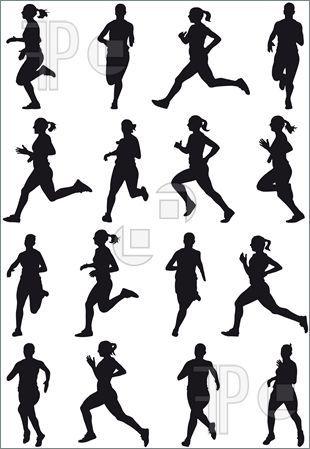 Woman Runner Running Marathon Silhouette Clipart.