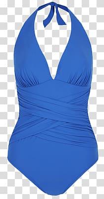 Women\'s blue halter swimsuit, Blue Swimming Suit transparent.