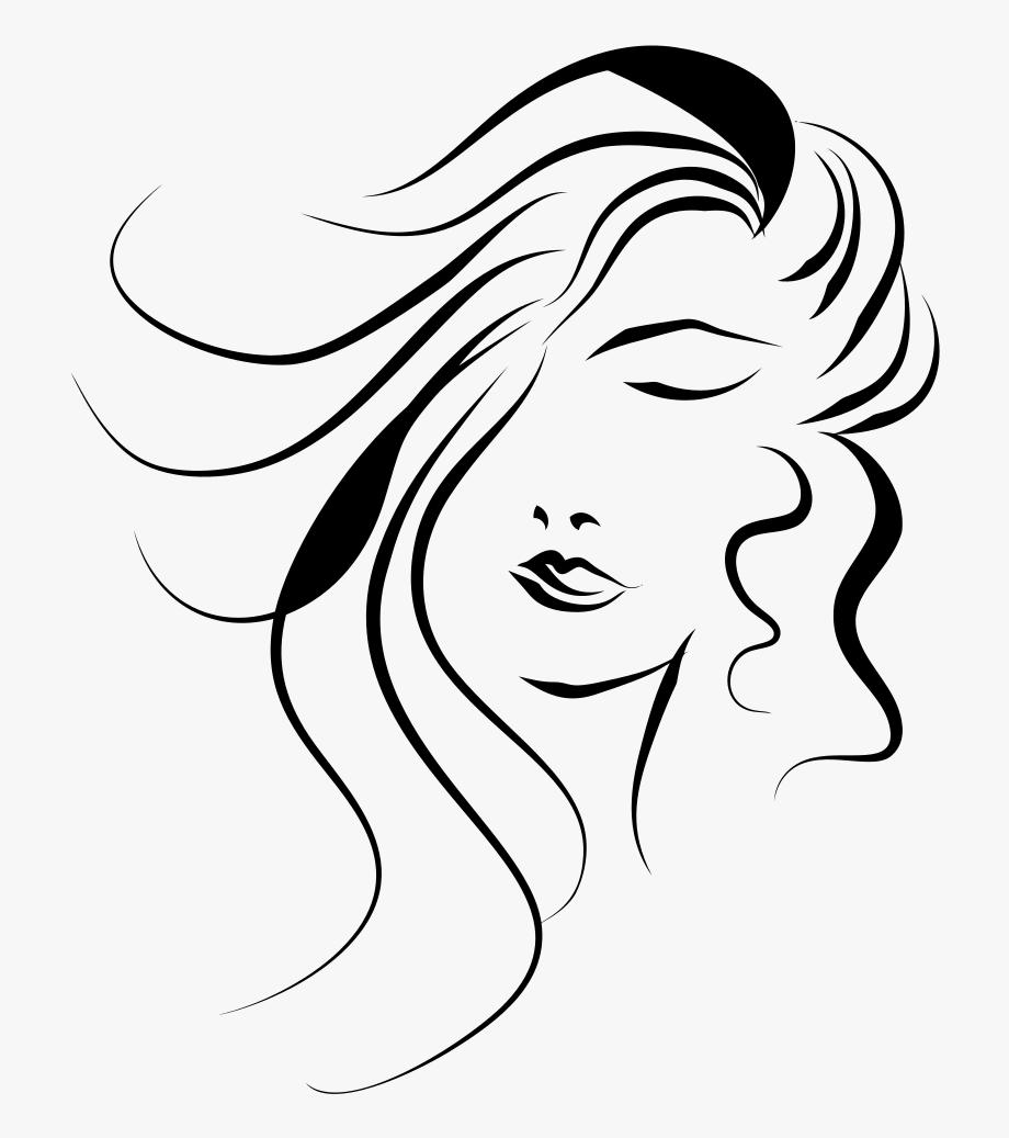 Woman\'s Face Line Art.