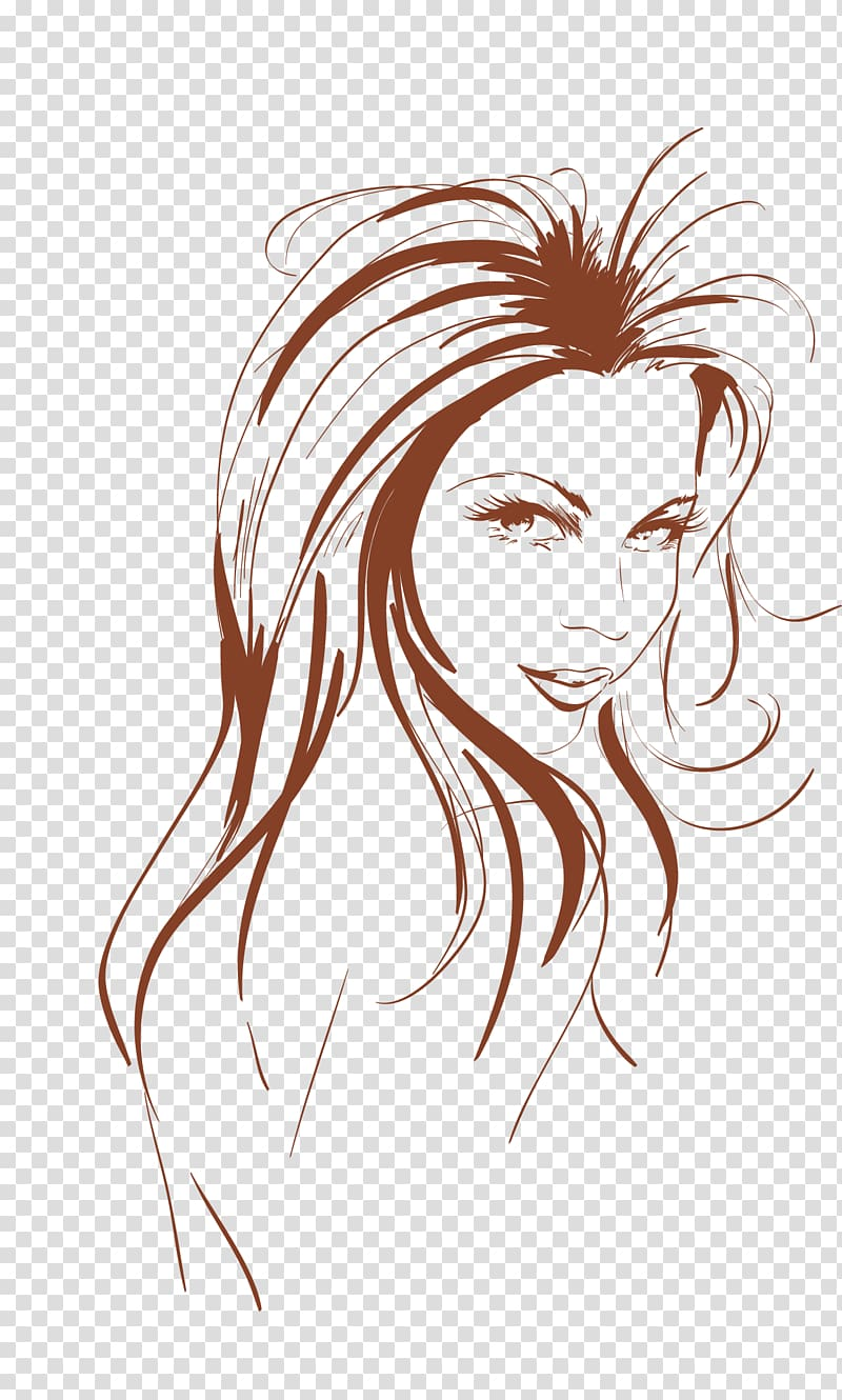 Woman\'s face illustration, Drawing Graphics tablet, girls.