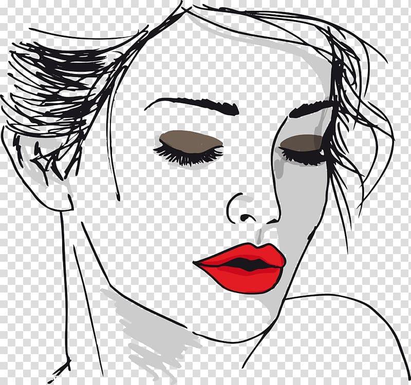 Woman\'s face portrait illustration, Drawing Face Woman.